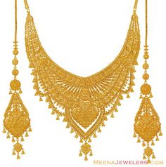 Indian bridal necklace and earring set in 22k gold. Description from meenajewelers.com. I searched for this on bing.com/images