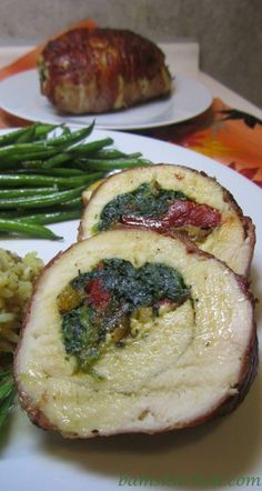 Proscuitto Wrapped Chicken Breasts with Spinach, Feta, and Roasted Peppers