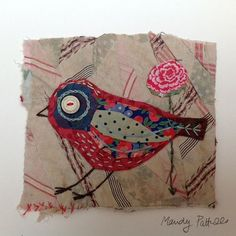 Unframed appliqued bird with embroidery on to par MandyPattullo Bird Applique, Wool Applique, Applique Quilts, Embroidery Applique, Machine Embroidery, Embroidery Floss Projects, Quilting Projects, Sewing Projects, Fabric Birds