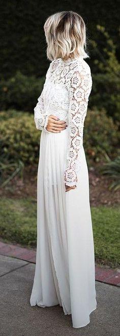 White Wedding Guest Lace Details Maxi Dress | Jo & Kemp