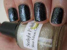 Diamond Cosmetics (base): Matte Black; Starlight Polish (top): Silver Moon (is mostly pearly and silvery, but also has a subtle element of soft pastel kind of colors due to the iridescence of the flecks)