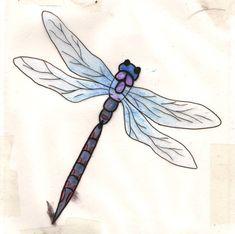 Blue and purple Dragonfly tatt by happyhippybassist.deviantart.com on @DeviantArt