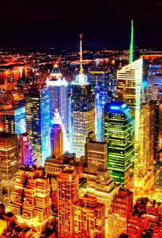 New York City at night. The city really never sleeps! #city #lights #skyline