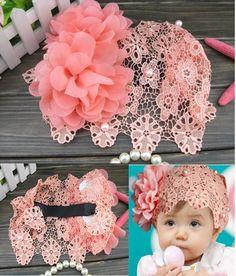 Lace Flower Kids Baby Girls Flower Headbands Hair Bows Bun Hairnet Accessories