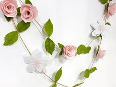 Boho Party Decor Wall Hanging Wedding or Home Decor Nursery Decorations Room Decoration Wedding Ceremony Backdrop Rose Garland, Felt Garland, Flower Garlands, First Birthday Decorations, Baby Shower Decorations, Baptism Decorations, Wedding Decorations, Felt Flowers, Paper Flowers