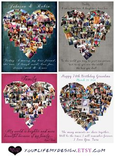Heart Photo Collage - Your Life, My Design by Lali. Personalized Valentine's gifts for the special person in your life. Photo Gift, gift for best friend, heart collage.