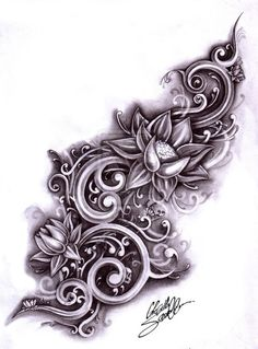 This would be amazing in black and grey and the lotus flowers in bright beautiful colors