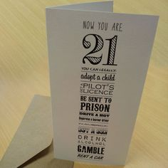 21st Birthday Card 'Now You're 21' by AmandaWishartDesign on Etsy, £3.50