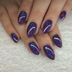 Lecenté Bluebonnet and Majestic Super Holographic Nails by Jenny Nagorski
