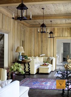 Living Area - River recovered cypress paneled walls and pecky cypress ceiling by Vintage Lumber.  Visit us on Houzz - http://www.houzz.com/pro/vintagelumbersales/vintage-lumber-sales