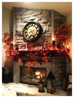 Halloween Mantle - Fall Leaves sides with orange lights, BOO in a Frame & Garland of Black and Orange