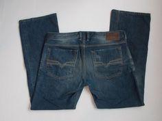 DIESEL INDUSTRY ZATINY Mens 34x30 regular bootcut button fly jeans Wash 00880N #DIESEL #BootCut