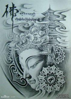 分享一款传统佛纹身图案
