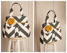 Madisyn Tote in Charcoal Big Chevron MADE TO by IveyExpressions, $96.00
