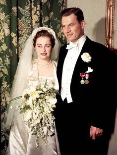 la princesse Ragnhild de Norvège le jour de son mariage avec Erling Sven Lorentzen