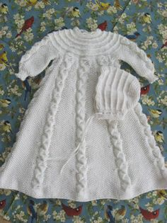 Folded Ribbon Christening Set @Af 12/1/13 #knitted christening dress for baby