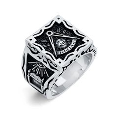 Freemason Ring, Black Diamond, White Gold, Rings, Ring, Black Diamonds, Jewelry Rings