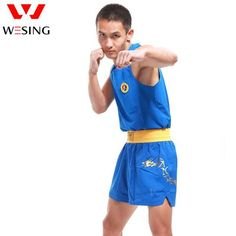 Wesing men boxing clothing boxing uniform boxing suits shorts blue red colors