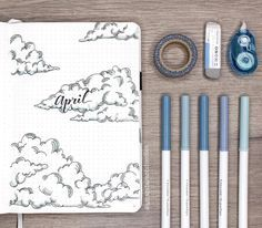 cloud themed bullet journal for April! by @amandarachdoodles on Instagram