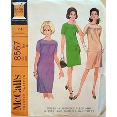 Misses Dress Half Size McCalls 8567 Pattern Vintage 1966 Size 14.5 c1435