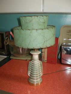 Vintage Mid Century Aqua and gold ceramic lamp by Spiffytyrant, $75.00
