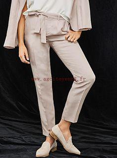 Femme Contemporaine Pantalon Ceinturé Lin Chic Vieux rose - Pantalons mkkz604g0lnu