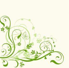 白地に緑の渦巻き飾り