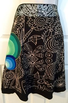 Desigual Skirt Size Large Womens Black Artsy Floral Design Cotton A Line  | eBay