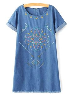 Rolled Sleeve Embroidered Straight Dress - BLUE L
