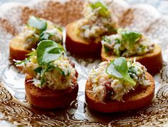 Crab toasts on homemade croutes - Christmas day starter