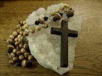 Handmade Catholic Wall-hanging Rosary with Onyx, Acai Seeds, & Tibetan Trade Beads - $45 with FREE S