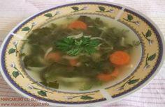 Ciorba de  stevie cu taitei de casa si ceapa verde Stevia, Palak Paneer, Soup, Ethnic Recipes, Green, Soups, Chowder