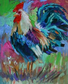 ROOSTER WITH SOMETHING TO CROW ABOUT, painting by artist Elizabeth Blaylock