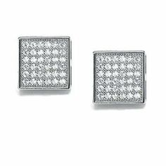 Bling Jewelry Mens Sterling Silver Micro Pave CZ Square Stud Earrings 9mm Bling Jewelry. $34.99. .925 sterling silver. Micro pave cubic zirconia. Mens stud earrings. For pierced ears. Total weight about 2 grams. Save 52% Off!