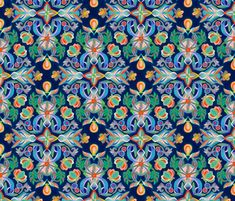 Boho Navy and Brights fabric by micklyn on Spoonflower - custom fabric