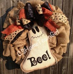 Burlap Halloween Ghost Wreath on Etsy, $80.00