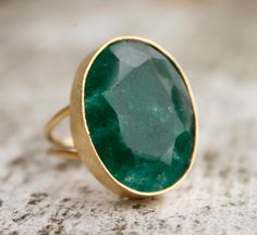 Green Emerald Ring Green Stone Ring May Birthstone by OhKuol