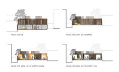 Wooden Frame House by a + samuel delmas - I Like Architecture Architecture Drawings, Facade Architecture, Timber Boards, Self Build Houses, Modern House Facades, Archi Design, Architectural Section, Exterior Cladding, House Elevation