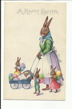 Vintage Postcard Happy Easter Dressed Rabbit Family Eggs Stroller Baby Bunnies | eBay
