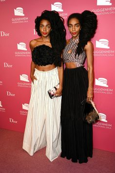 """soph-okonedo: """" Cipriana Quann and TK Quann attend the 2015 Guggenheim International Gala Pre-Party made possible by Dior at Solomon R. Guggenheim Museum on November 2015 in New York City """" Twin Models, Female Models, Women Models, Black Girl Magic, Black Girls, Quann Sisters, Cipriana Quann, Star Fashion, Fashion Outfits"""