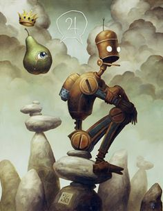 these robot paintings scattered with symbols by artist Brian Despain. Art And Illustration, Arte Pop, Steampunk, Arte Lowbrow, Robot Painting, Pop Art, Illustrator, Street Art, Arte Robot