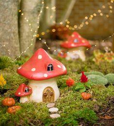 Miniature Fairy Garden Ceramic Mushroom House