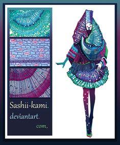under the microscope by Sashiiko-Anti on DeviantArt Fashion Design Sketchbook, Fashion Design Portfolio, Fashion Design Drawings, Fashion Sketches, Fashion Books, Fashion Art, Fashion Illustration Collage, Modelos 3d, Fashion Forecasting