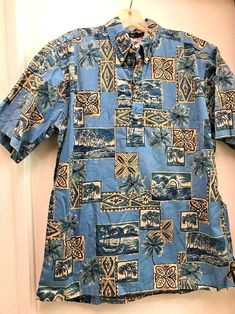 2bd8a9db5 Vintage Reyn Spooner Blue Medium Outrigger Marina Aloha Friday Hawaiian  Shirt #ReynSpooner #Hawaiian Smart