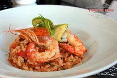 Risotto Gamberetti - γαρίδες με ελαφριά κόκκινη σάλτσα, ποικιλία λαχανικών, carpaccio κολοκυθίου & brick