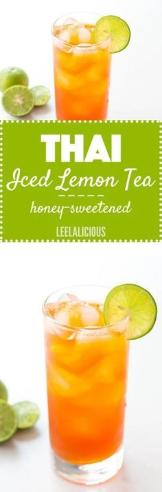 refreshing Thai Lemon Iced Tea is naturally sweetened with honey It is perfect to serve on hot summer days or with homemade Thai food Iced Tea Recipes, Thai Recipes, Asian Recipes, Smothie, Homemade Iced Tea, Thai Tea, Thai Dessert, Smoothie Recipes, Juice Recipes