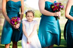 Teal Dresses and bouquets
