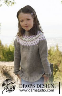 """Silje jumper - Knitted DROPS jumper with round yoke and flounce in """"Merino Extra Fine"""". Size 3 to 12 years. - Free pattern by DROPS Design Jumper Knitting Pattern, Jumper Patterns, Knitting Patterns Free, Knit Patterns, Free Knitting, Baby Knitting, Free Pattern, Drops Design, Crochet Toddler"""