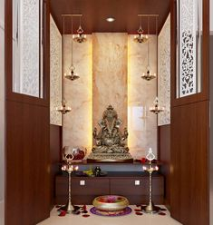 Pooja Units - Home Interior Designers in Banashankari - Home Decors in Bangalore Pooja Room Door Design, Interior Design Living Room, Interior Livingroom, Roof Design, Ceiling Design, Villa Design, Temple Room, Temple Design For Home, Mandir Design