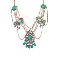 Robert Rose Stone & Chain Statement Necklace